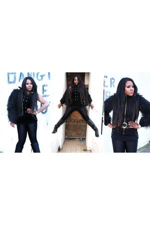 black faux fur Zara jacket - Office boots - black H&M leggings