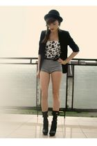 white DIY shirt - black bigstar shoes - black allegro hat - black Topshop blazer