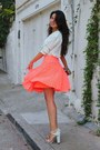 White-shirt-salmon-skirt-white-sandals
