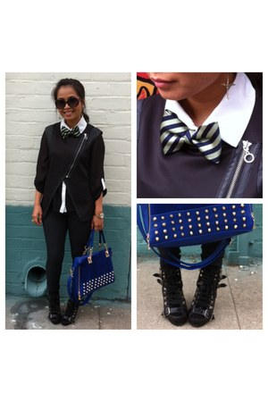 blue Gifted Unknown Brand bag - navy BittyDesigns tie - black Target vest