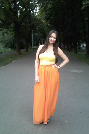 orange custom made skirt - black bb up sandals - yellow H&M top