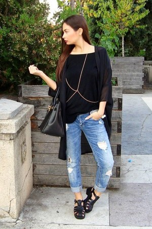 black leather Hermes bag - blue ripped Zara jeans - black xxl tnt t-shirt