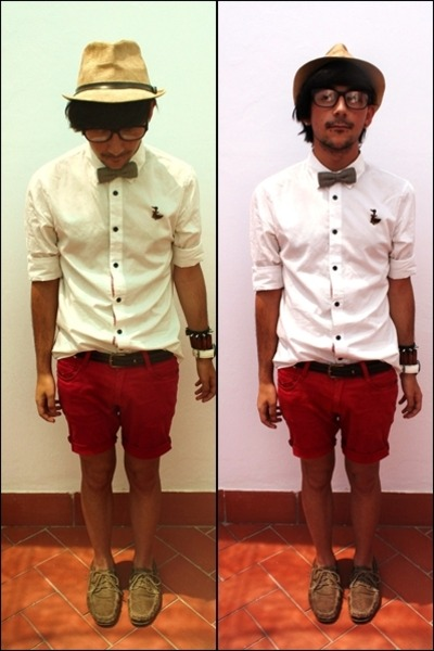 Shorts White Shirt Men White Cotton Shirt Red Denim