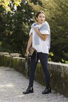 clutch La Redoute bag - La Redoute boots - H&M jeans - knit La Redoute sweater