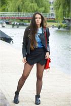 faux-leather Mango jacket - denim Forever 21 shirt - asymetrical Zara skirt