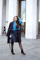 dark gray H&M coat - blue Tibi sweater - black H&M bag - navy Tibi skirt