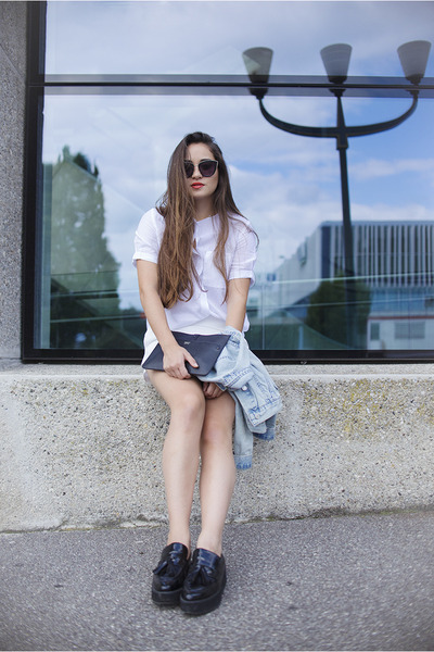 black platforms Mango shoes - sky blue denim Topshop jacket - white Zara shirt