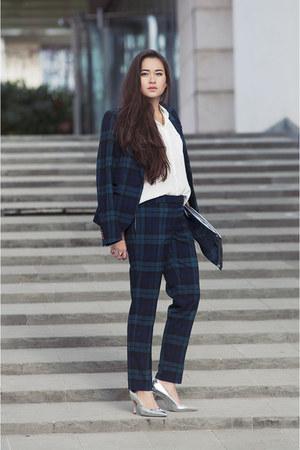tartan Esprit jacket - silver Esprit shoes - clutch H&M bag