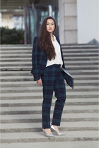 tartan Esprit jacket - silver Esprit shoes - clutch H&M bag