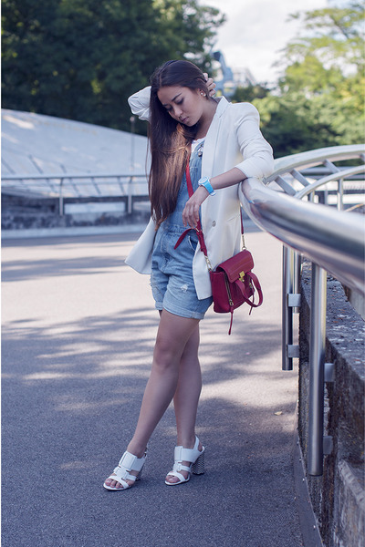white La halle shoes - white earrings dior jeans - white oversized Mango blazer
