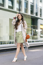 white La halle shoes - beige Zara coat - burnt orange Gucci bag