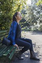 blue SANDRO blazer - gray biker boots zalando boots - navy H&M jeans