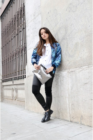 black flats Mango shoes - sky blue bomber 7 for all mankind jacket