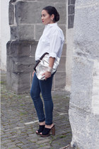 black Zara shoes - navy H&M jeans - white Mango shirt - silver vintage bag