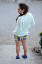 floral Zara shorts - heels Zara shoes - knit H&M sweater