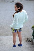 floral Zara shorts - heels Zara shoes - knit H&M sweater