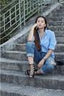 Black-sandals-zara-shoes-blue-boyfriend-american-eagle-jeans-blue-gant-shirt