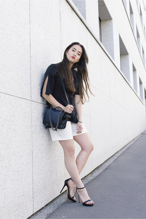 black Zara sandals - navy H&M bag - ivory joseph shorts