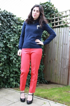 red H&M pants - navy Uniqlo sweater - navy polkadot Motel Rocks blouse