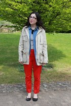 red H&M pants - beige Semaforo jacket - blue chambray tezenis shirt
