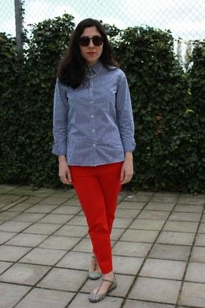 gingham Muji shirt - H&M pants - floral Zara flats