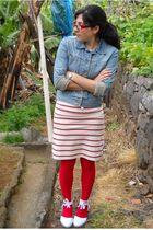 blue Zara jacket - red Le Petit Marceau dress - red Calzedonia stockings - beige