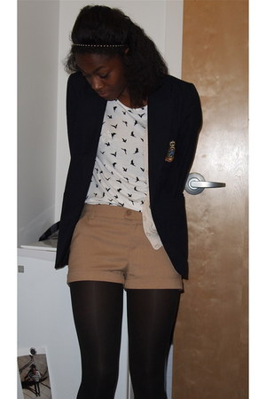 navy Forever 21 blazer - white Forever 21 shirt - tan H&M shorts
