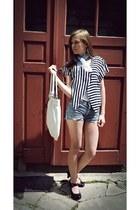 blue striped random brand shirt - maroon  black Graceland shoes
