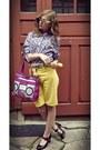 Light-purple-floral-print-random-brand-shirt-amethyst-stereo-oriflame-bag