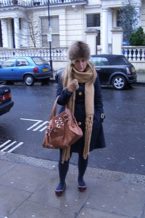 vintage hat - vintage scarf - Zara coat - Jimmy Choo purse