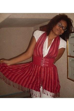 ivory Stradivarius shirt - ruby red Mango scarf - ivory Zara skirt