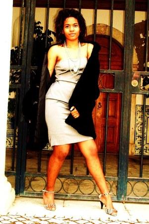 camel Bershka shoes - heather gray Bershka dress - black China coat