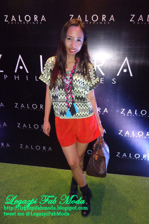 red shorts - black boots - brown bag - hot pink accessories - lime green blouse