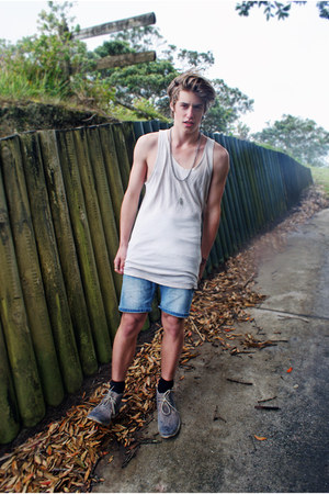 silver thrifted vintage boots - white white singlet no brand shirt