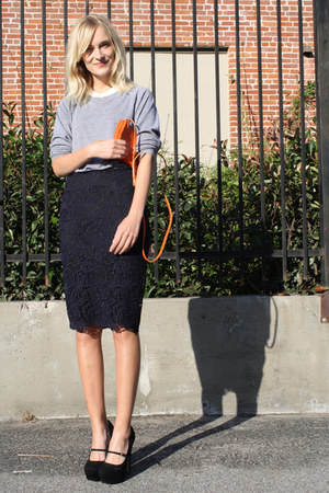 black Topshop shoes - carrot orange Celine bag