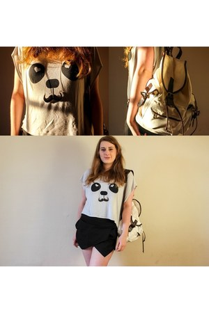 panda crop top Jane Norman top - bag - black skorts JQWM Woman shorts