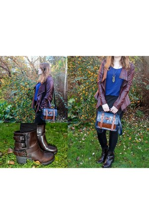 brown Influence jacket - dark brown belle women boots - navy Ecosusi bag