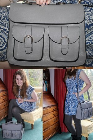blue new look dress - charcoal gray Uni Qlo leggings - heather gray bag