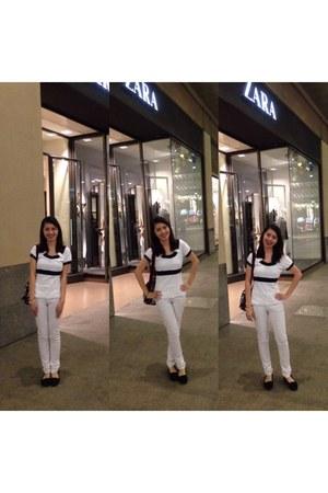 black Le sport sac bag - white Mango pants - black Nine West flats