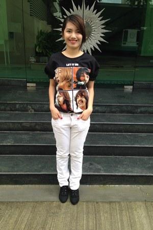 black The Beatles shirt - white Mango pants - black Zara heels