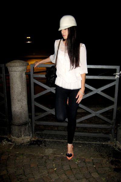 black Topshop purse - pink H&M blouse - black American Apparel leggings - pink v