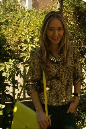 black vintage watch - gold leopard print vintage shirt - lime green Zara bag
