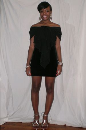black dress - silver Aldo shoes