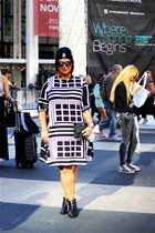 black Forever 21 boots - white asoscom dress - black hashtag beanie asoscom hat
