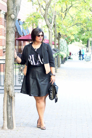 black two tone blazer blazer - black faux leather skirt - dark khaki heels