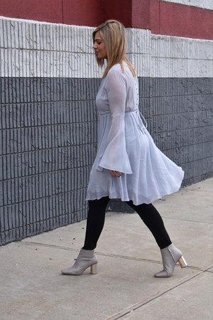 periwinkle Anthropologie dress - nude Zara boots - black sara blakely leggings