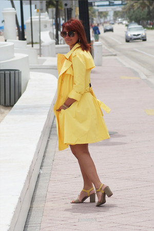 yellow New York and Company jacket - hot pink New York and Company dress