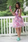 Bubble-gum-new-york-co-dress-aquamarine-mint-mules-metrostyle-heels