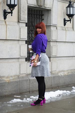 deep purple dvf blouse - hot pink asoscom shoes - black calvin klein skirt