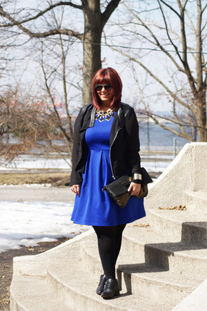 black Michael Kors boots - blue Forever 21 dress - black Forever 21 blazer